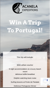 Acanela – Win A Trip To Portugal – Win and one (1) winner will be chosen