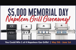Bbqguys – $5k Memorial Day Napoleon Grill Giveaway – Win Prestige PRO 500 (PRO500RSIBPSS-3) Value $1899.