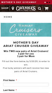 Cavender's – 2020 Mother's Day Giveaway – Win a two (2) pairs of Ariat Cruisers