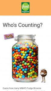 Food Network Magazine – June 2020 Who's Counting Contest – Win a $500 check and a year's supply of M&M'S Fudge Brownie candies (Total ARV $544).