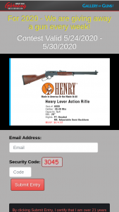 Gallery Of Guns – Great Gun Giveaway – Win Henry Lever Action rifle ARV $674.99