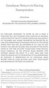 Goodyear – Return To Racing – Win one of the four winning race tires from the May 17 2020 Darlington race