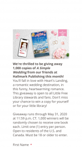 Hallmark Publishing – A Simple Wedding – Win A Simple Wedding