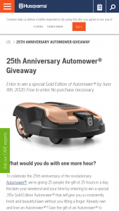 Husqvarna – 25th Anniversary Automower Giveaway Sweepstakes