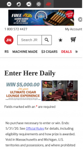Jrcigarscom – Ultimate Cigar Lounge Experience – Win $5000 to create an in-home cigar lounge