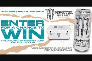 Monster Energy – Ultra Chance To Win A Cooler – Win one Monster Energy Ultra Yeti cooler and twelve cases of Monster Energy Ultra product