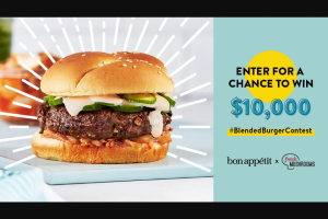 Mushroom Council – Blended Burger Contest – Win a $10000 cash prize