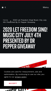Nashville Convention & Visitors Corp – 2020 Let Freedom Sing Music City July 4th Sweepstakes