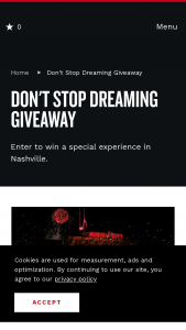Nashville's Convention & Visitors Corp – Don't Stop Dreaming Giveaway Sweepstakes