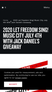 Nashville's Convention & Visitors Corp – Music City July 4th With Jack Daniel's Giveaway Sweepstakes