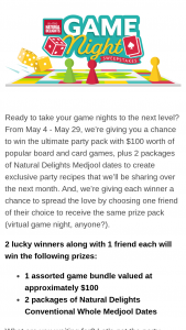 Natural Delights – Game Night Sweepstakes