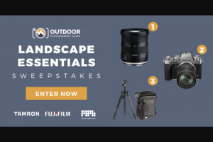"Outdoor Photography Guide – Landscape Essentials – Win (Approximate Retail Value (""ARV"") $599.00) Prize #3 MPB Brunswick Backpack (Approximate Retail Value (""ARV"") $129.99) and Palmeira Travel Tripod (Approximate Retail Value (""ARV"") $154.99)"