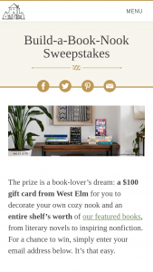 Penguin Random House – Build-A-Book-Nook – Win a $100 West ELM gift card and a selection of books