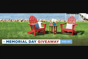 Polywood – Memorial Day Giveaway – Win 1 x Classic Adirondack 3-Piece Set (PWS417-1) in the color of their choice