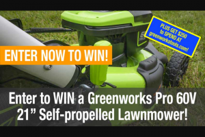 Pro Tool Reviews – Greenworks Pro 60v Lawnmower Sweepstakes