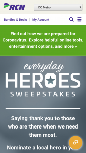 RCN – Everyday Hero – Win Twelve (12) months free internet services
