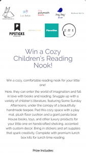 Sanford Publishers – Cozy Children's Reading Nook Sweepstakes