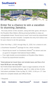 Southwest Vacations – May Jamaica Sweepstakes