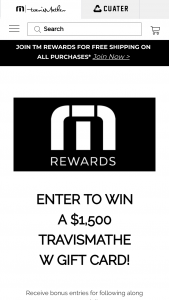 Travismathew – Gift Card – Win One (1) online discount code for $1500 US Dollars redeemable for eligible product only at wwwtravismathewcom