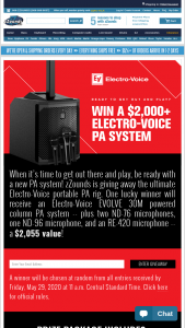 Zzounds – Electro-Voice Evolve 30m Giveaway – Win one Electro-Voice 30M powered column PA system