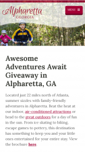 Alpharetta Convention And Visitors Bureau – Awesome Adventures Await Giveaway Sweepstakes