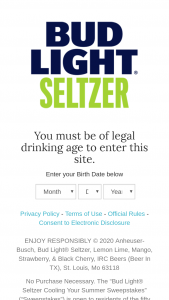 Anheuser-Busch – Bud Light Seltzer Cooling Your Summer – Win total) One (1) $50.00 pre-paid card