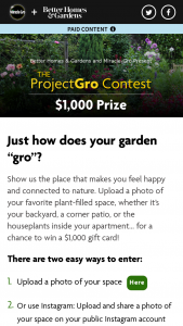 Better Home & Gardens – Miracle-Gro Project Gro Contest – Win $1000 Prepaid Gift Card