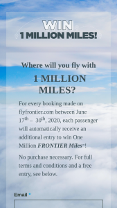 Frontier Airlines – 1 Million Miles – Win 1000000 Redeemable Frontier Miles