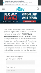 HGTV – Fix My Fail – Win win $2000 presented in the form of a check