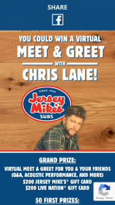 "Jersey Mike's – Subs & Stubs – Win one (1) $200 Jersey Mike's gift card (""JM Gift Card"") and one (1) $200 Live Nation e-gift card (""LN Gift Card"")."