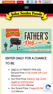 John Soules Foods – Father's Day Giveaway – Win Pellet Grill Winner ONE (1) First Prize Big Green Medium Egg & integrated News  Handler Winner TWENTY-FIVE (25) Second Prize $100 VISA® Gift Card Winners