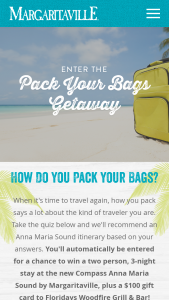 Margaritaville – Pack Your Bags Getaway – Win hotel accommodations for two to the Compass Hotel by Margaritaville in Bradenton