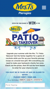 Mrs T's Pierogies – Patio Takeover – Win A one-year supply of Mrs T's Pierogies via fifty-two (52) coupons