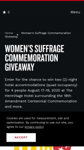Nashville Convention & Visitors Corp – Women's Suffrage Commemoration Giveaway Sweepstakes
