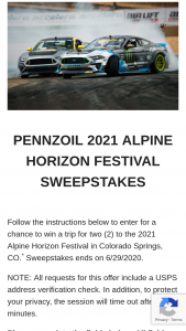 Pennzoil – 2021 Alpine Horizon Festival – Win from Sponsor for any element of the Grand Prize that