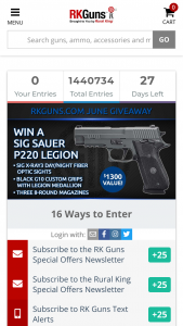 Rural King – June Giveaway – Win one Sig Sauer P220 Legion Pistol with an ARV of $1300.