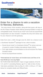Southwest Vacations – June Sweepstakes