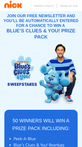 Viacom – Blue's Clues & You June 2020 Consumer Products Preview Sweepstakes