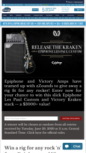 Zzounds – Epiphone Les Paul Custom And Victory Vx The Kraken Giveaway – Win ONE Epiphone Les Paul Custom Electric Guitar