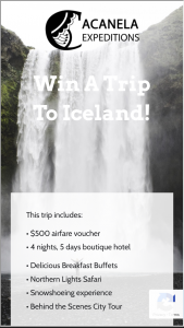 Acanela – Trip To Iceland Sweepstakes