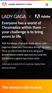 Adobe – lady Gaga X Adobe Welcome To Chromatica Challenge Contest – Win $10000 (USD equivalent) check (approx