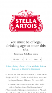 """Anheuser-Busch – Stella Artois Explore Your City – Win (12 total 1 per Group see Rule #4) One (1) $500.00 prepaid debit card that can be used to purchase a """"Staycation"""" in your city"""