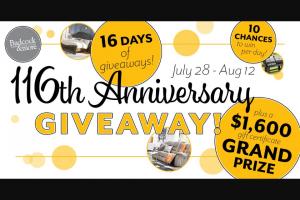 Badcock – 116th Anniversary – Win One $1600 Badcock Home Furniture &more® gift certificate (1 winner)