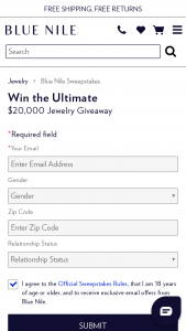 Blue Nile – Ultimate $20000 Jewelry Giveaway – Win A USD$20000 Shopping Spree awarded as a Blue Nile gift certificate or credit with a total value of USD$20000.