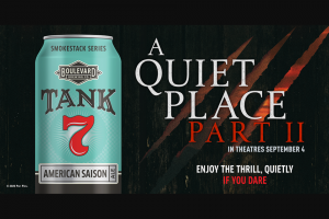 Boulevard Brewing – A Quiet Place Ii – Win a trip for two (2) to Hollywood