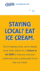 Crystal Creamery – Staying Local Eat Ice Cream – Win one $250 gift card to a local grocery store of their choice