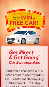 Direct Auto – Get Direct And Get Going Car – Win a $20000 credit (voucher) to go towards purchasing one (1) automobile of his/her choice from CarMax