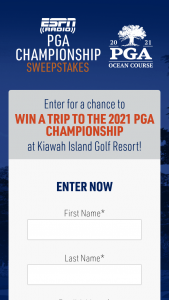 Espn Radio – 2021 Pga Championship – Win a prize package to attend the 2021 PGA Championship at Kiawah Island in South Carolina