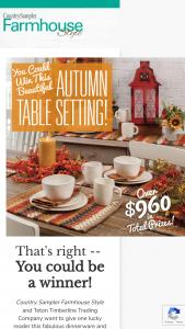 Farmhouse Style – Autumn 2020 Giveaway Sweepstakes