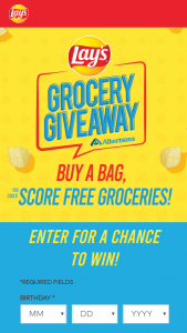 Frito-Lay – Lay's Grocery Giveaway At Albertsons – Win groceries for a year' which consists of a $5200 Albertsons gift card awarded to each of the thirteen (13) winners